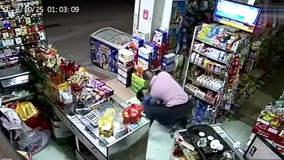 The guy pretended to buy something in the shop, then he took out a knife and tried to rob the boss.