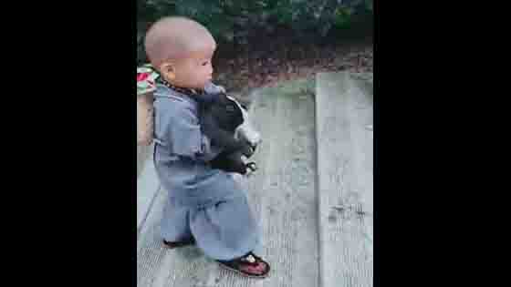 A baby monk went down the mountain to catch rabbits.