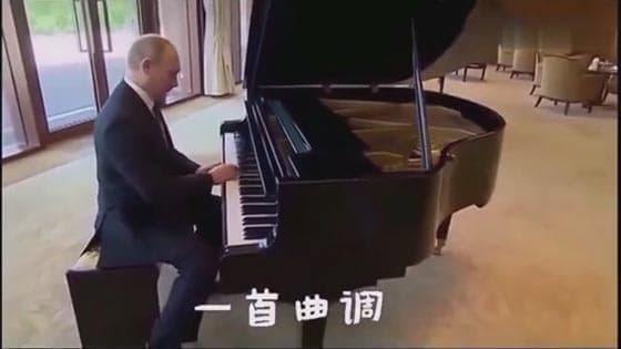 Wow, look how the big character improvising to play the piano!