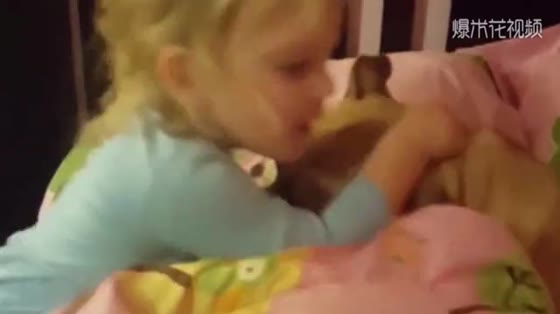 Too much love, baby and dog cuddle to sleep, mother are jealous.