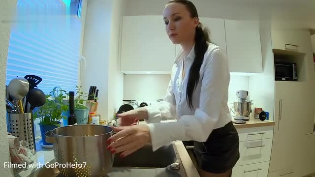 [Vanessa Pur] Elegant wear - long sleeve high collar skirt, shiny pantyhose & silver high heels - next plan video, German cuisine