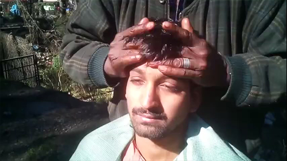 Indian Head Massage relaxing video: Head massage in the woods