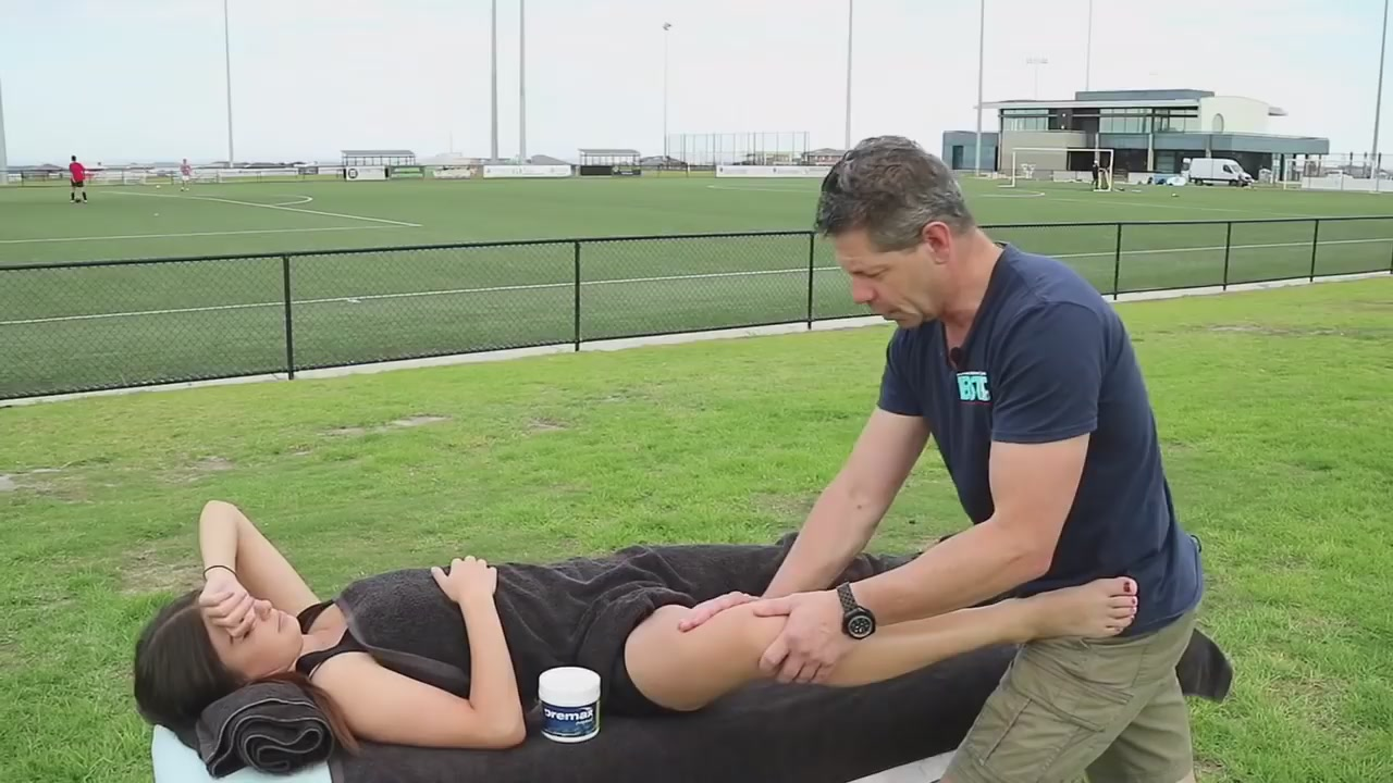 Football Massage Video:Stuart Hinds help sister The Adductors featuring massage