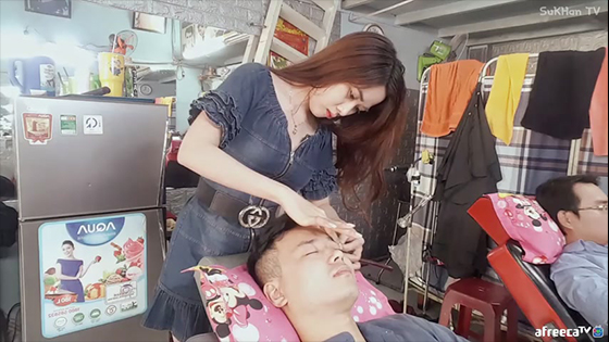 Vietnamese special haircut massage - sexy lady shave face massage.
